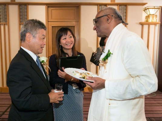 madhupandit dasa with Mr Okada, CEO of Nikkei Asia Prizes